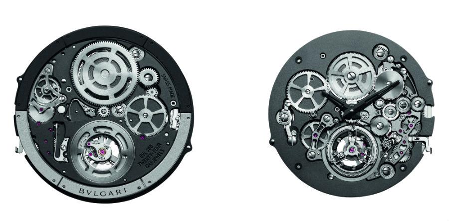 Fronte e retro del calibro meccanico a carica automatica scheletrato BVL 288. Ore, minuti, piccoli secondi, tourbillon volante, rotore periferico, 52 ore di autonomia, tutto in uno spessore di 1,95 mm.
