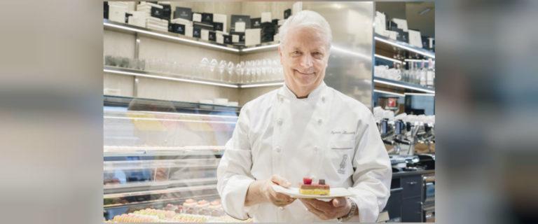 il Maestro Iginio Massari durante l'inaugurazione della pasticceria boutique di Milano.