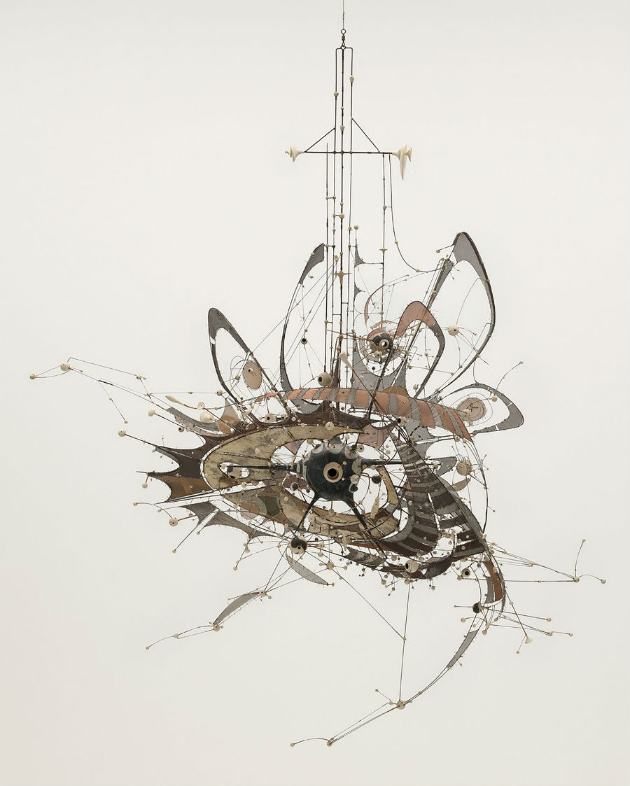 In mostra al MoMa: Lee Bontecou (American, born 1931). Untitled. 1980-98. Welded steel, porcelain, wire mesh, canvas, grommets, and wire, 7 x 8 x 6′ (213.4 x 243.8 x 182.9 cm). The Museum of Modern Art, NY. Gift of Philip Johnson (by exchange) and the Nina and Gordon Bunshaft Bequest Fund. Copyright © 2017 Lee Bontecou.