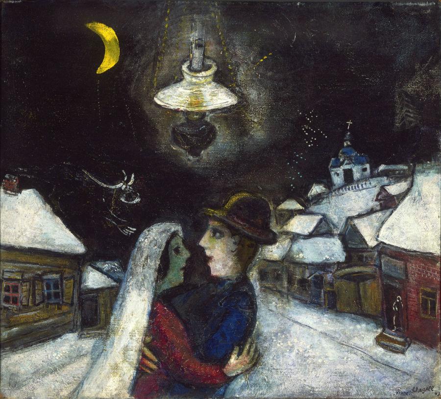 Palazzo Reale, Milano: in mostra Marc Chagall Nella notte, 1943 olio su tela, 47 x 52.4 cm Philadelphia Museum of Art, Collezione Louis E. Stern, 1963