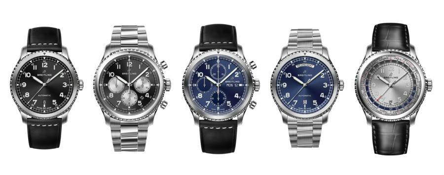 La famiglia allargata del Navitimer 8. Da sinistra, Automatic, B01, Chronograph, Day & Date e Unitime.