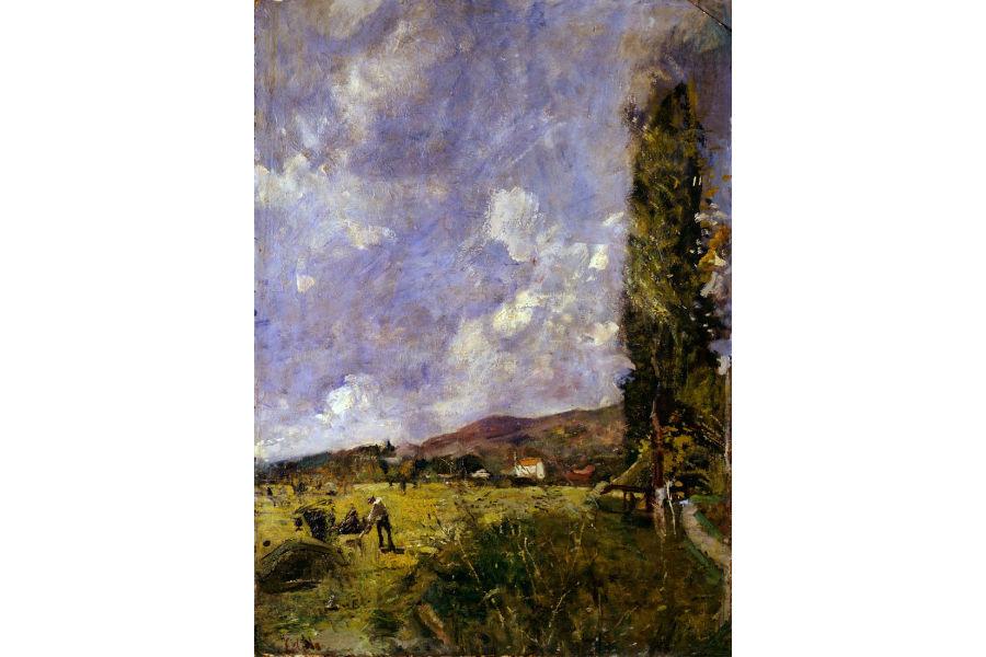 Armonie verdi. Paesaggi dalla Scapigliatura al Novecento: Emilio Gola, Paesaggio brianzolo, 1915, olio su cartone