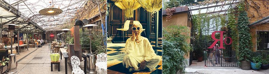 3 immagini che ritraggono il cortile interno del BistRo arredato da Rossana Orlandi ed una sua immagine