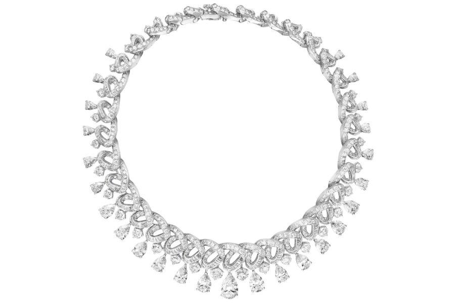 Baselworld 2018 – Graff Diamonds - Art Inspired Collection - Collana in platino, diamanti taglio baguette, a pera e brillanti per un totale di 83.58 cts.