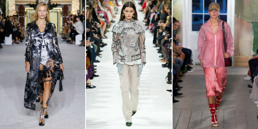 Impermeabile see through - tendenza SS 2018: 3 modelle sfilano indossando capi di Balmain, Valentino, Burberry