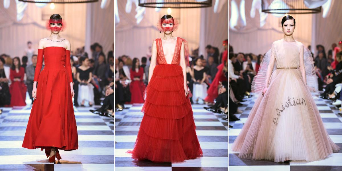 3 modelle indossano creazioni Maison Dior Haute Couture SS 2018