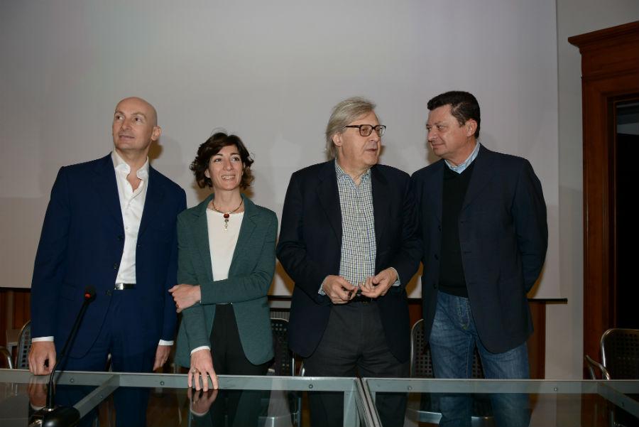 Milano Design Week 2018 - Conferenza Stampa per la presentazione dell'evento. Da sinistra Mattia Martinelli, Cristina Tajani, Vittotio Sgarbi e Antonio Ceschel (Tit Carlo Moretti)