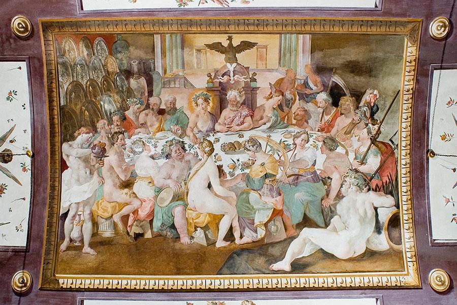 La Villa di Corliano - Toscana: affresco nella volta del salone