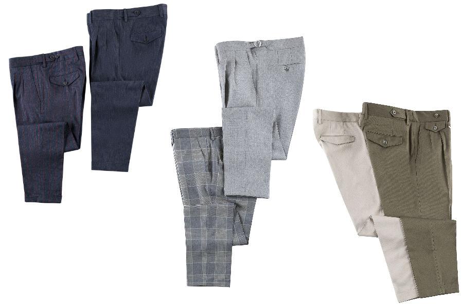 qualche modello di pantaloni maschili dal taglio sartoriale del brand P By Paoloni