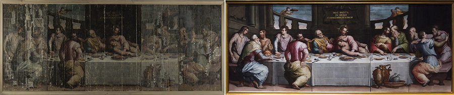 Imprenditori Italiani: Ultima Cena del Vasari prima e dopo il restauro finanziato dalla Maison Prada