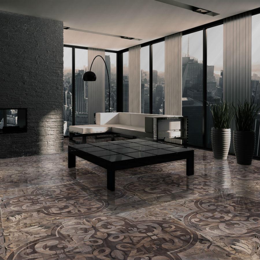 """Carlo Apollo: Progetto di una scenografica residenza privata impreziosita dal pavimento modello """"Marino"""", realizzato in noce e legno rovere antico di recupero, con una decorazione molto ricca e complessa."""