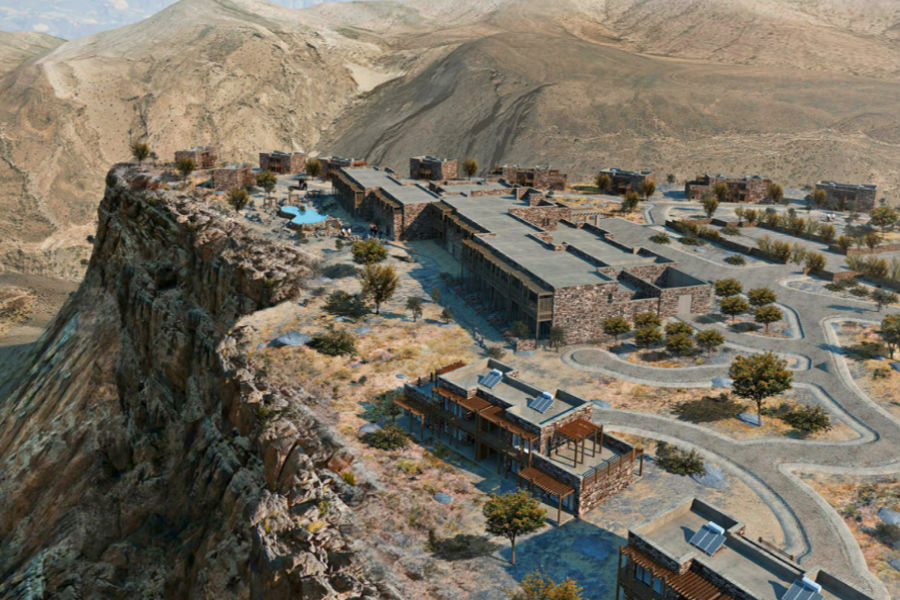 Oman - il luxury resort Alila Jabal Akhdar: veduta aerea