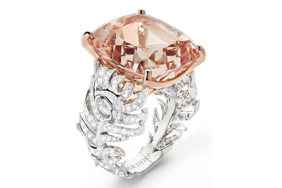 Boucheron - Plume de Paon 2016 – Anello in oro bianco e rosa, una morganite di 24, 37 cts e diamanti.
