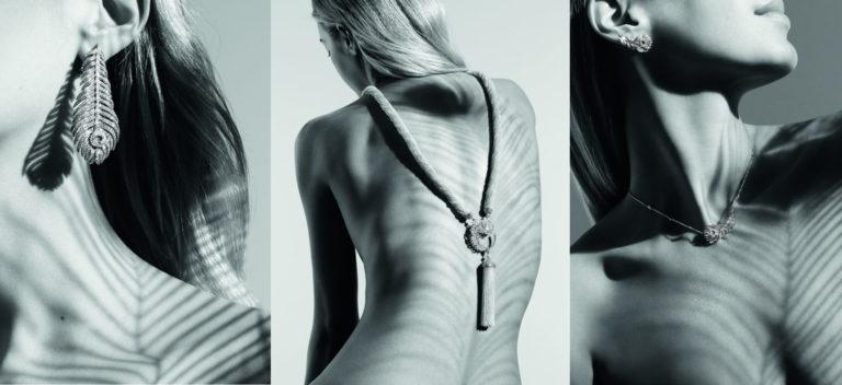 Boucheron - Plume de Paon 2018 - Collana ed orecchini in oro bianco, un diamante ovale taglio a rosa, topazi bianchi e diamanti. - Pendente in oro bianco, un diamante taglio a rosa, diamanti.