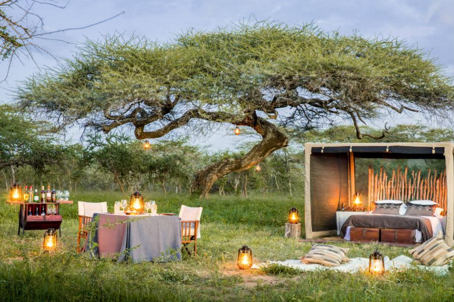 Tanzania - Mwiba Lodge Hotel: Angoli per cene nell'area verde attrezzata custodita