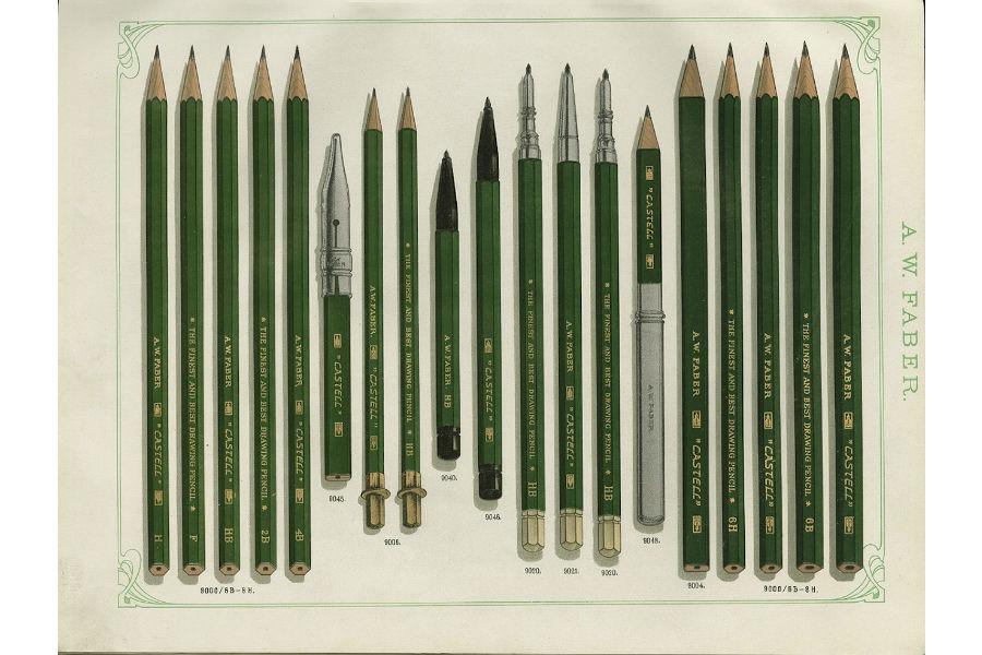 """Faber-Castell: Un'immagine tratta dai cataloghi del 1909 che ritrae la mitica """"CASTELL 9000""""."""