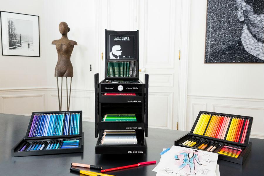 """la """"Karlbox"""" esclusiva collezione in edizione limitata di strumenti per artisti realizzata da Faber-Castell in collaborazione con Karl Lagerfeld."""