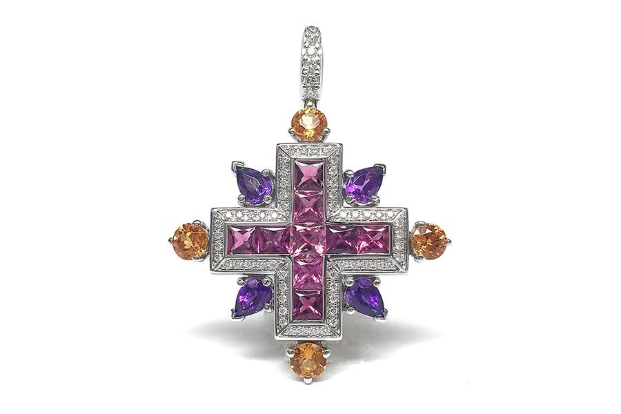 Giampiero Bodino – Alta gioielleria - Rosa Dei Venti – Croce Iride: rubellite, ametiste, granati e diamanti.