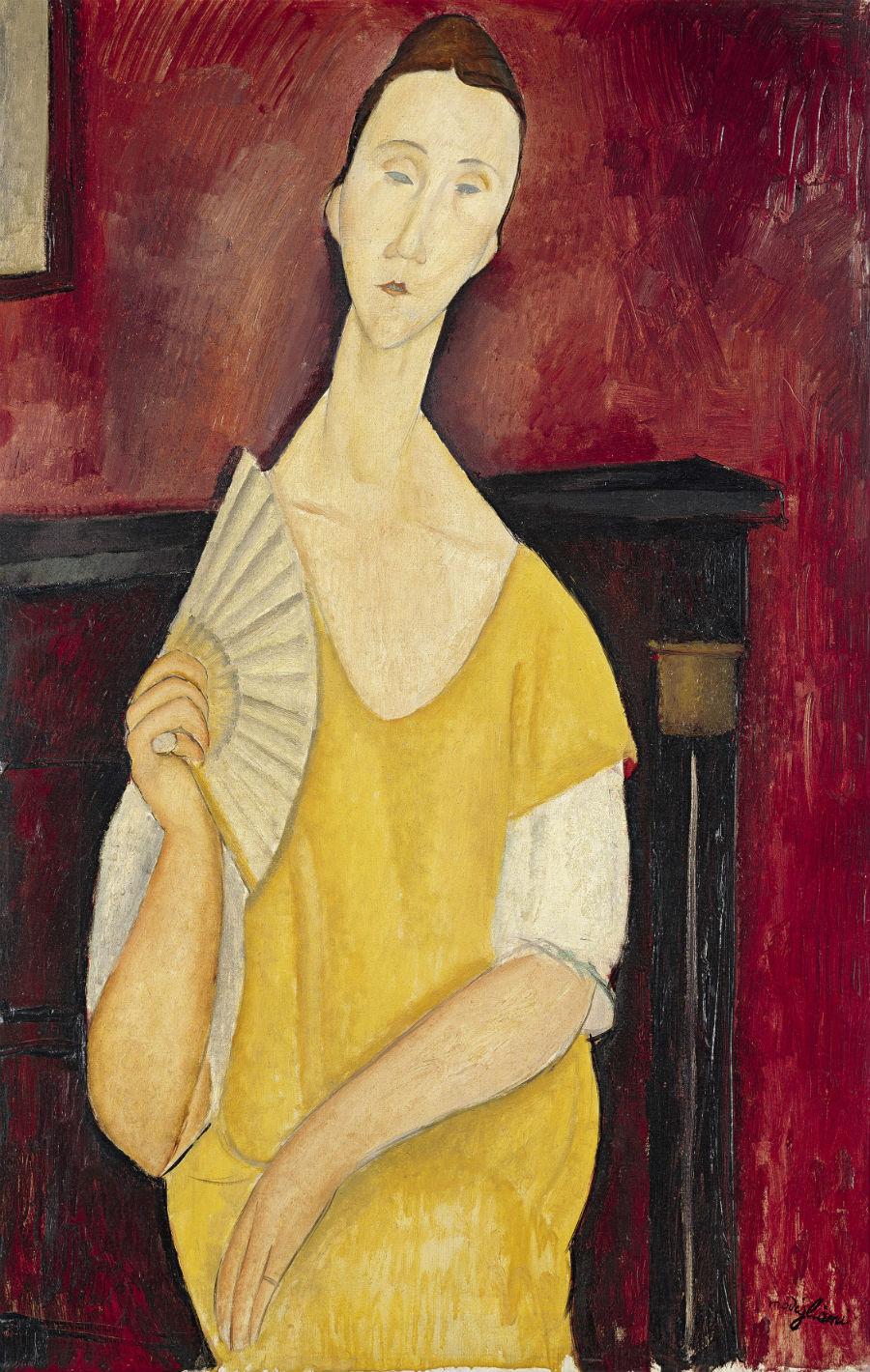 Autore: Amedeo ModiglianiTitolo: Ritratto di Lunia Czechowska con il ventaglio Anno: 1919Dimensioni: 100 x 65 cmTecnica: olio su telaSede: Musée d'Art moderne de la Ville de Paris, Parigi