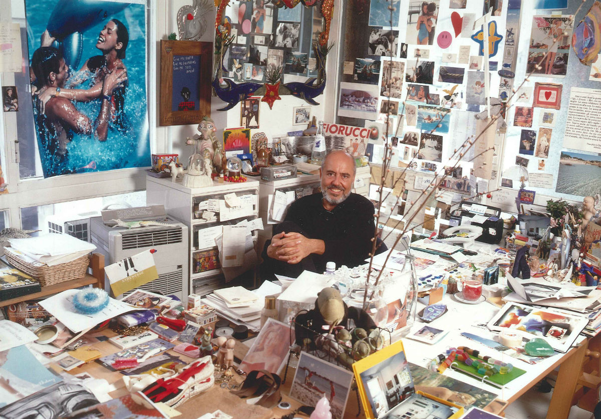 Elio Fiorucci ritratto nel suo studio