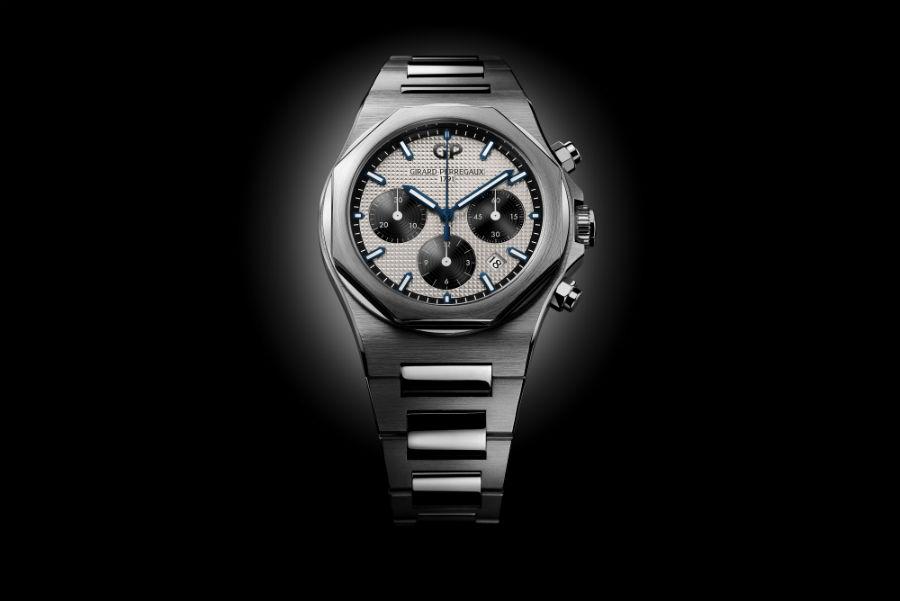 Girard Perregaux – Laureato Chronograph – movimento meccanico a carica automatica di manifattura Calibro GP03300 – autonomia di 46 ore – cassa da 42 mm in acciaio – impermeabile a 10 atmosfere – bracciale in acciaio a finitura lucida e satinata.