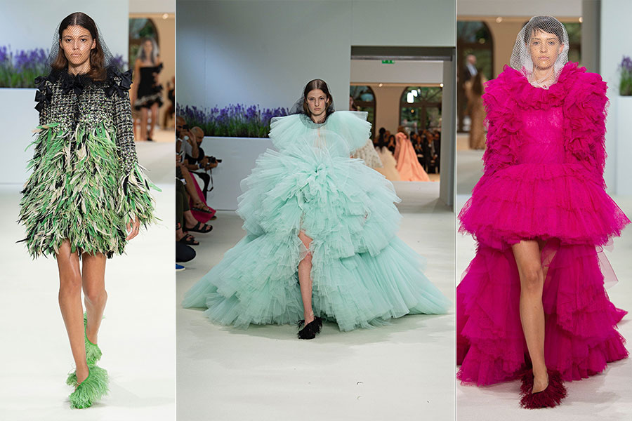 Tre modelli di Giambattista Valli - Haute Couture Fashion Week FW 2018-2019