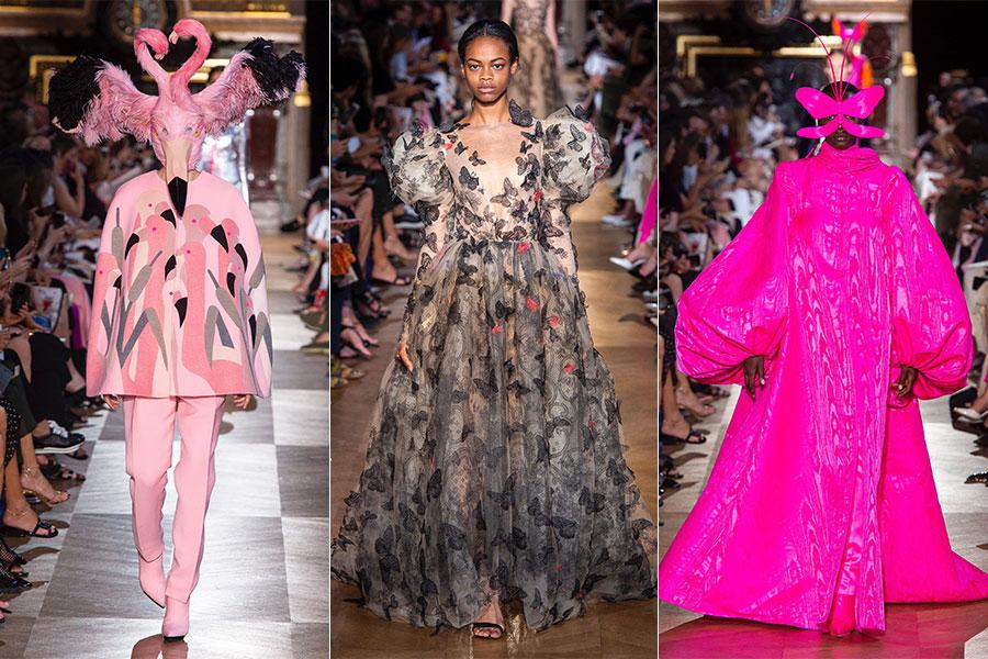 Tre modelli della Maison Schiaparelli - Haute Couture Fashion Week FW 2018-2019