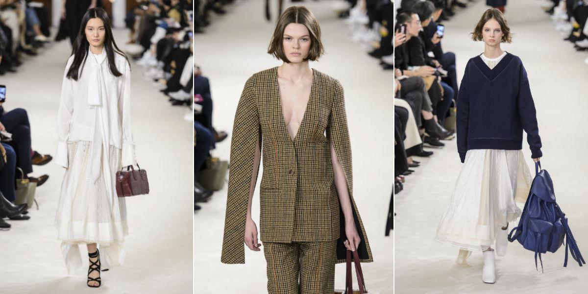 Tre modelli della collezione donna autunno inverno 2018-2019 di Loewe by Jonathan Anderson