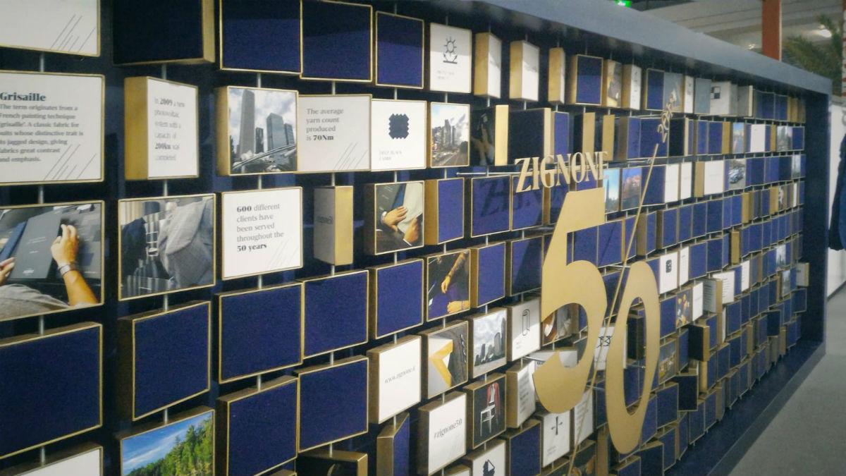 Lanificio Zignone - allestimento per i festeggiamenti del cinquantennale dell'azienda presso Milano Unica