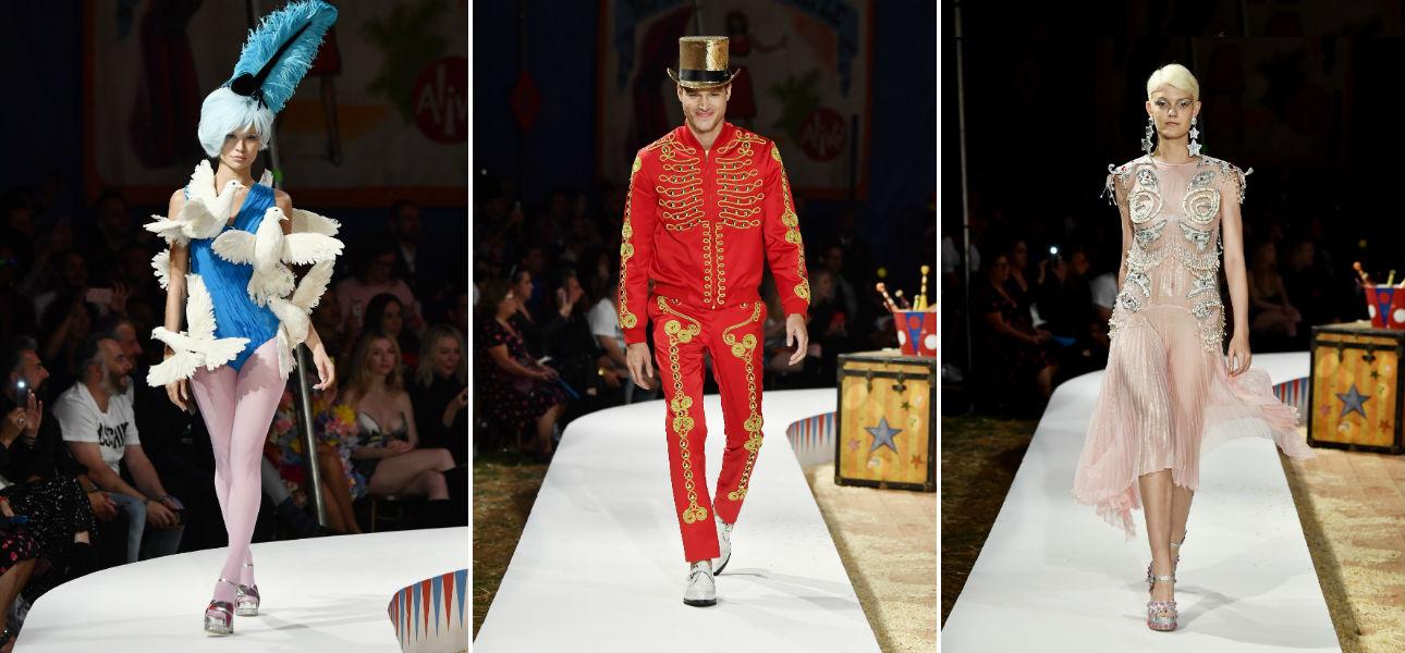 tre modelli della collezione Moschino Resort 2019 e Menswear by Jeremy Scott