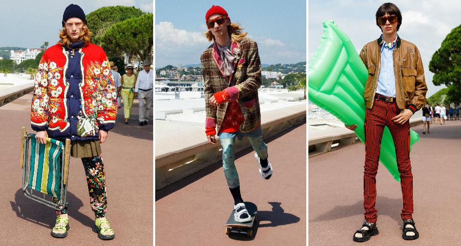 Tre modelli indossano abiti Gucci Cruise Uomo 2019 - credits Martin Parr