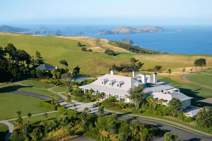 Il Lodge at Kauri Cliffs in Nuova Zelanda - veduta aerea della proprietà
