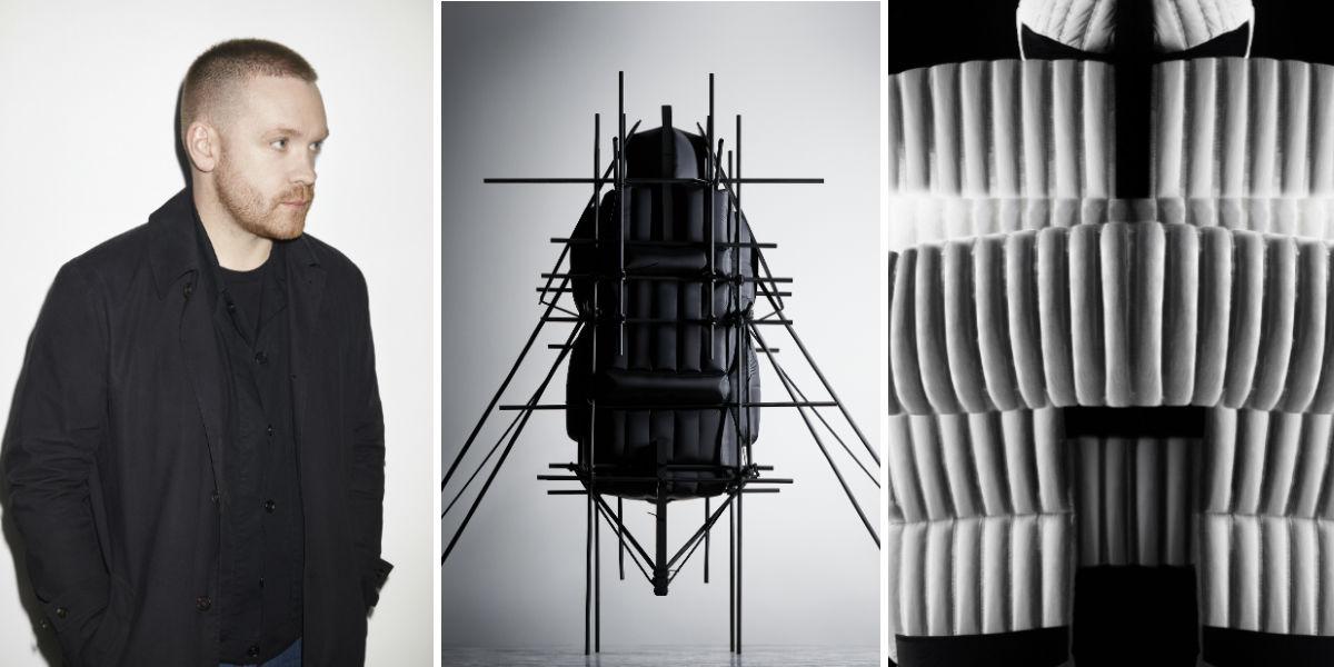 Primo piano del designer Craig Green e due dettagli della collezione Moncler Genius