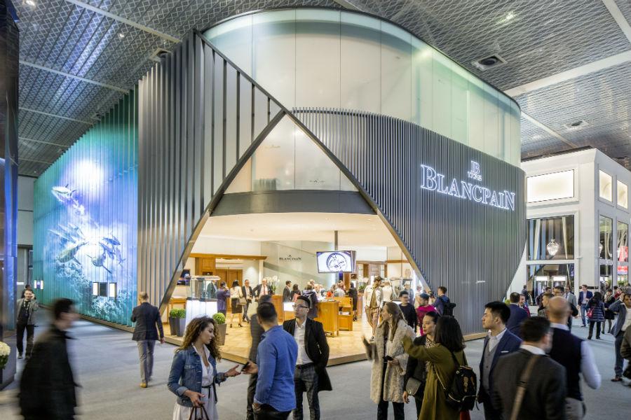 Il Booth della maison Blancpain. In prima fila, con Breguet, tra le realtà di Swatch Group a Baselworld.