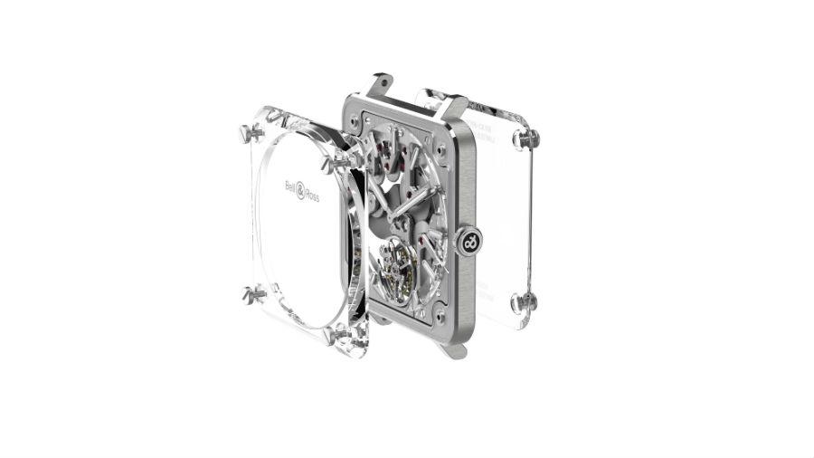 Un'immagine che mostra l'idea alla base del Bell & Ross BR-X2 Skeleton Tourbillon Micro-Rotor. Il movimento, collegato a un sottile perimetro di acciaio realizzato in un unico pezzo, è alloggiato a sandwich tra due sezioni di vetro zaffiro.