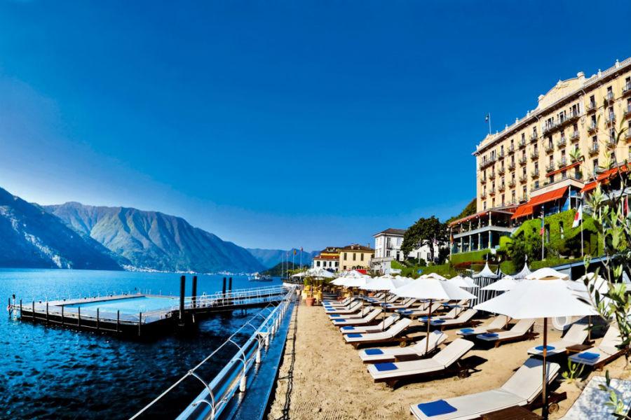 Il Grand Hotel Tremezzo sul Lago di Como: area privata sul lago con piscina