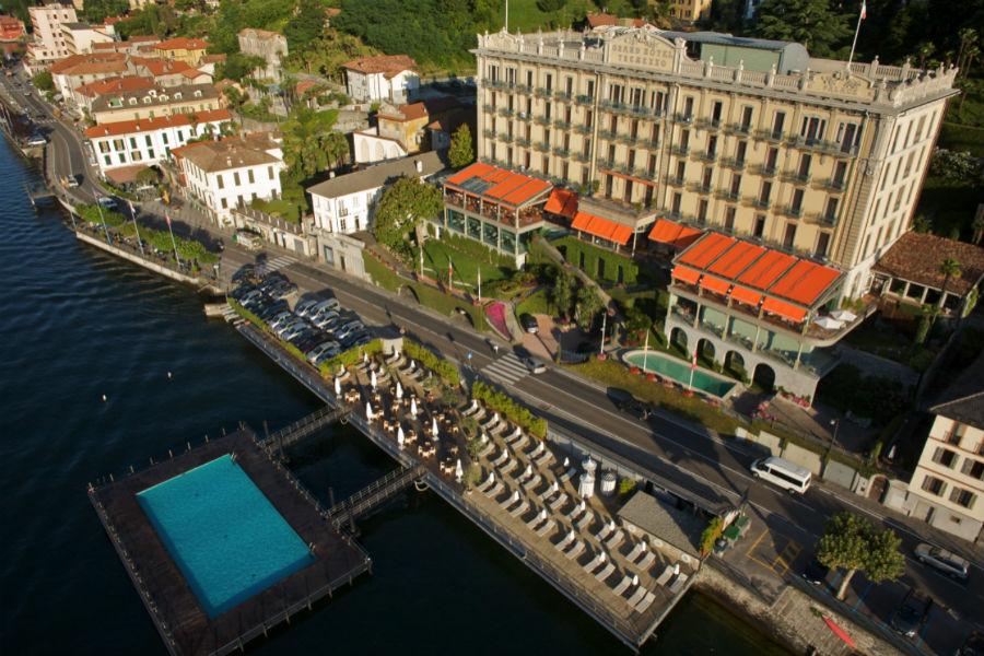 Il Grand Hotel Tremezzo sul Lago di Como: veduta aerea dell'hotel