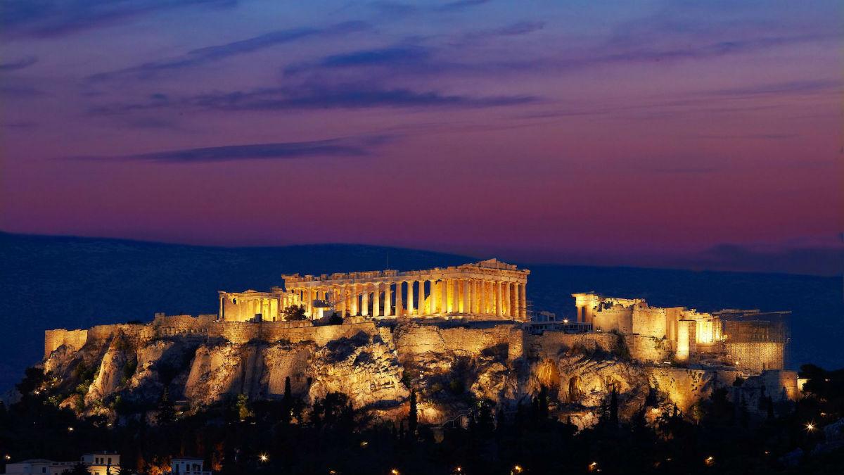 Hotel Grande Bretagne - Atene: veduta sull'Acropoli dalla terrazza esterna