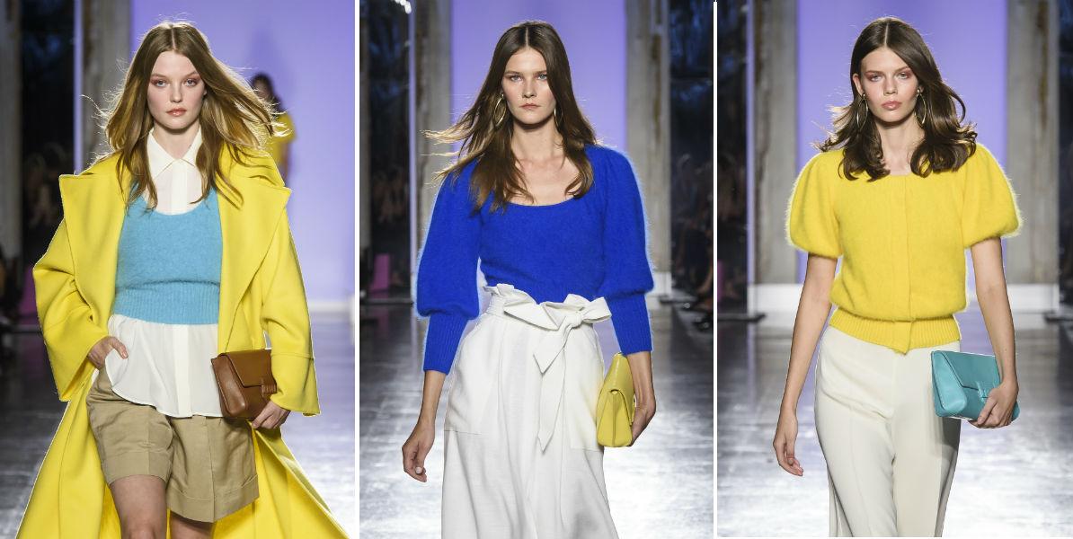 Tre modelli della collezione SS 2019 di Luisa Spagnoli - Milano Fashion Week