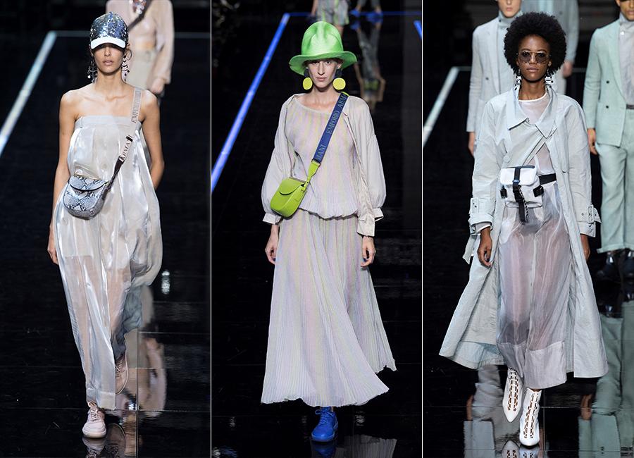 Milano Fashion Week 2018 - tre modelli della collezione donna di Emporio Armani SS 2019