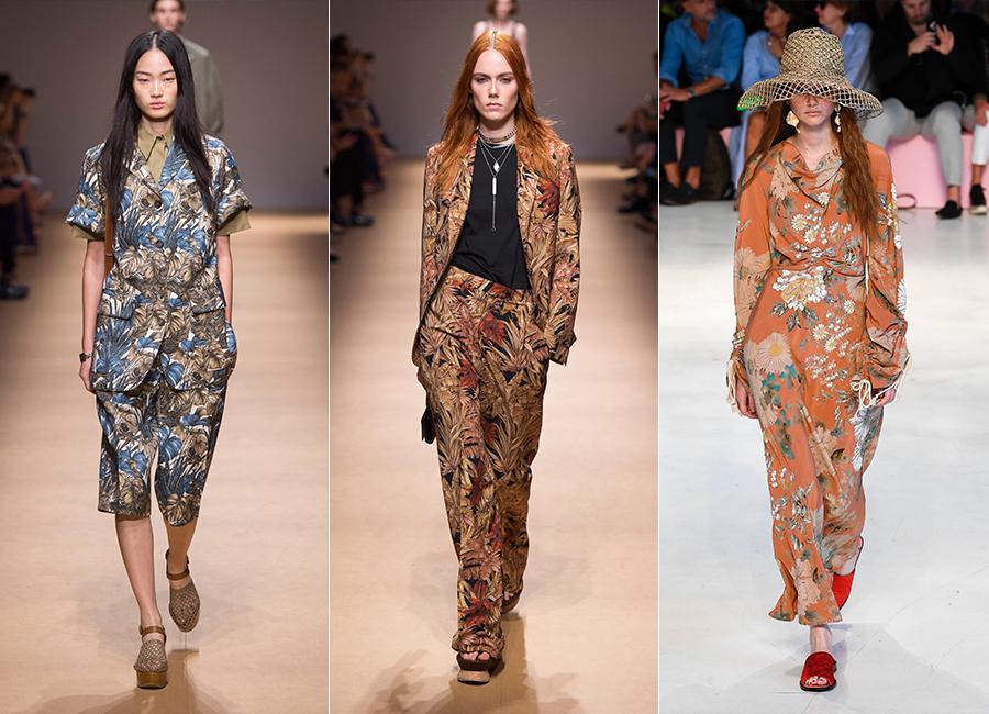 Milano Fashion Week 2018 - tre modelli della collezione donna di Salvatore Ferragamo e Etro SS2019