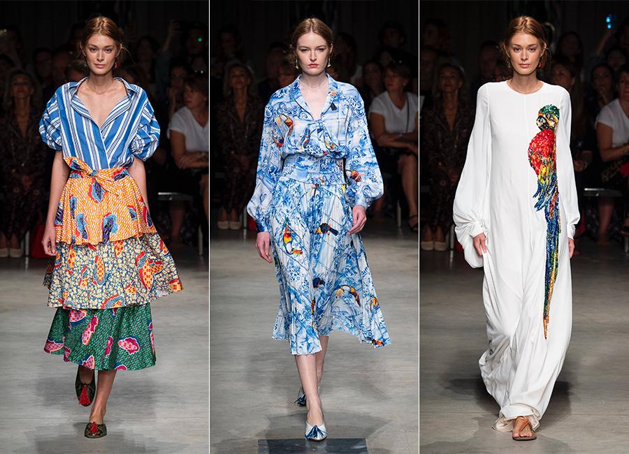 Milano Fashion Week 2018 - tre modelli della collezione donna di Stella Jean SS2019