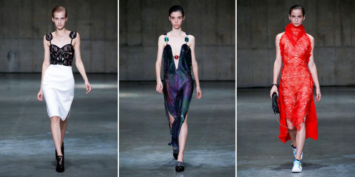Settimana della moda di Londra 2018: tre modelli della collezione donna di Mary Katrantzou SS19 - Foto courtesy Mary Katrantzou