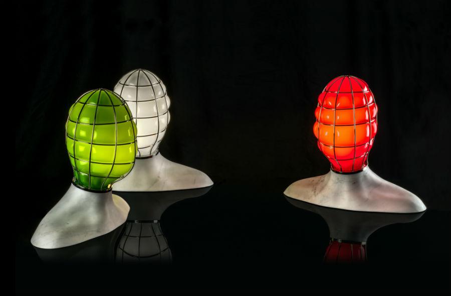 Le tre lampade della collezione Muse, credits Venini