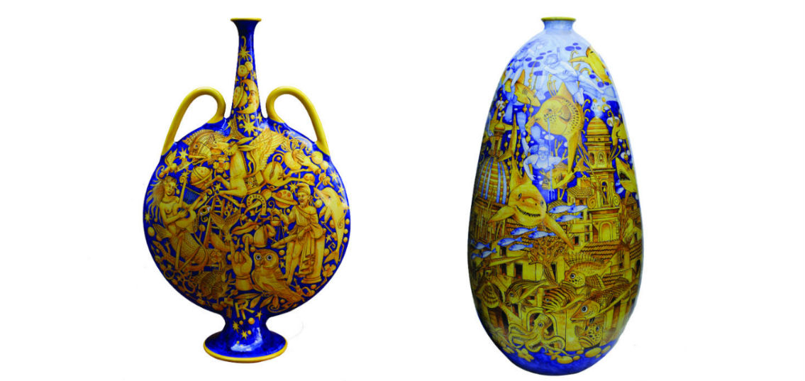 """Due vasi realizzati dal Maestro di Vietri sul mare Francesco Raimondi: """"Fiasca scaramantica"""" e """"Vietri sotto il mare"""""""