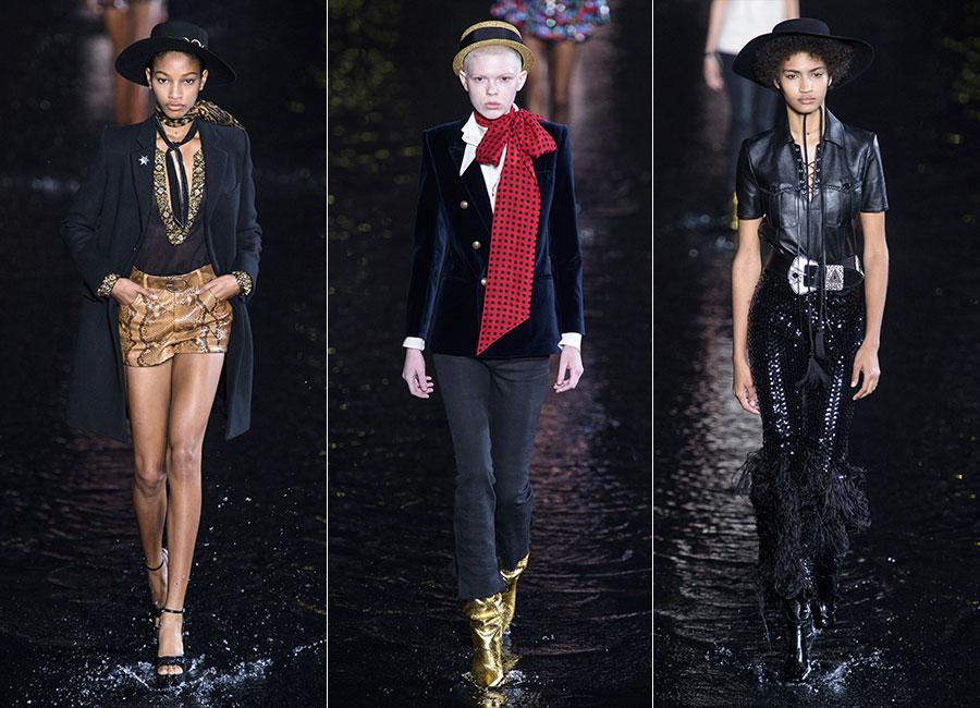 YSL: tre modelli femminili della collezione SS 2019