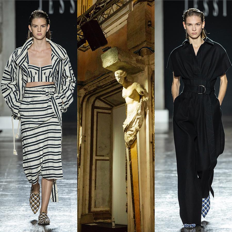 Collezione primavera estate 2019 disegnata da Federico Piaggi per Jessie - nell'immagine la Sala delle Cariatidi a Palazzo Reale a Milano e 2 modelle che indossano gli abiti della collezione