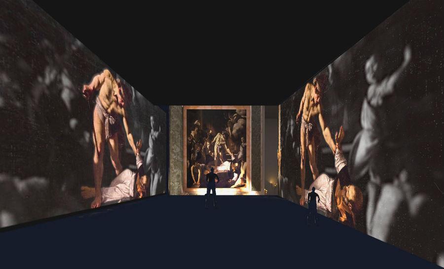 Caravaggio a Milano in mostra a La Permanente: nell'immagine una delle esposizioni della mostra Caravaggio oltre la tela: La mostra immersiva