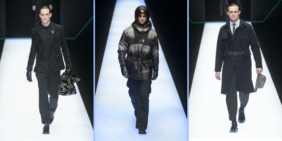 Tre modelli maschili Emporio Armani, #wearsEA collezione autunno inverno 2018-2019