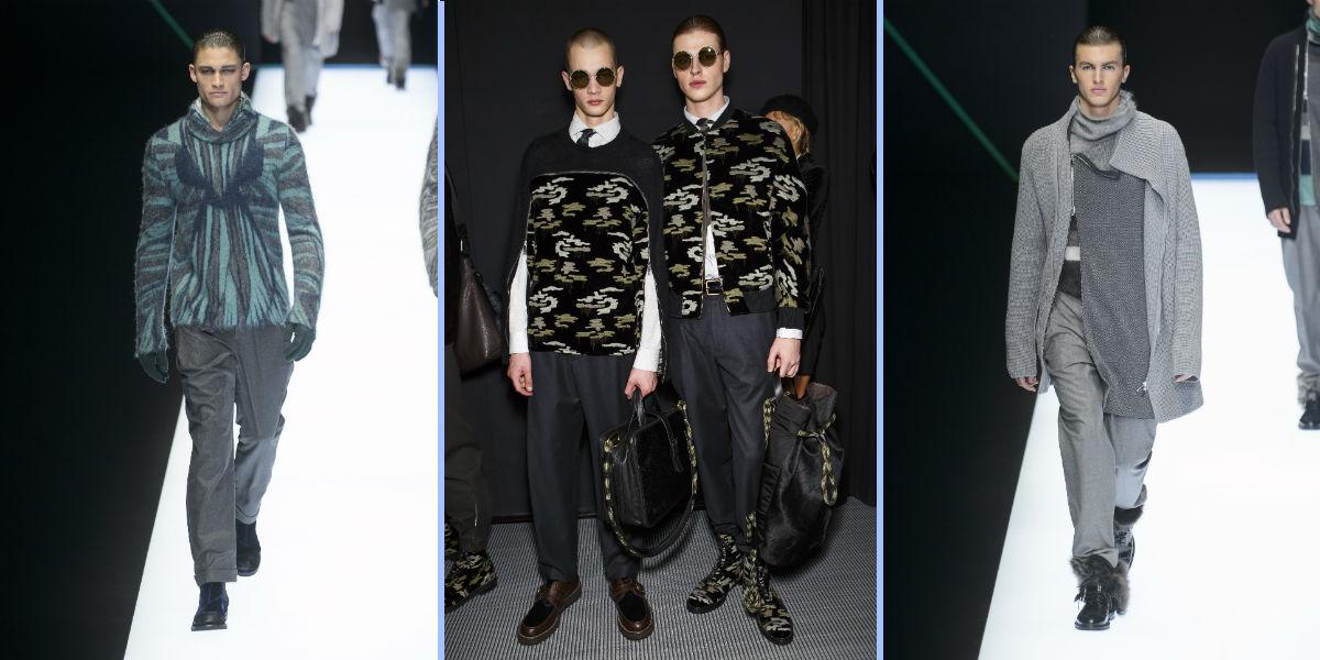 Cinque modelli maschili Emporio Armani, #wearsEA collezione autunno inverno 2018-2019